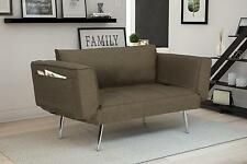 Modern Rich Grey Linen Euro Loveseat Futon Sofa Bed, with Magazine Storage