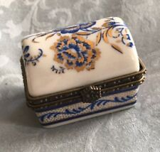 Vintage Limoges France Trinket Pill Box, blue and golden decoration