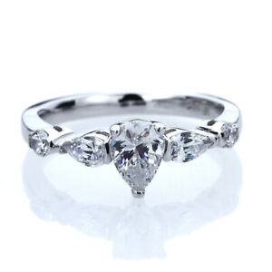 7mm Platinum Plated Silver 1.5ct Pear CZ Three Stone Wedding Engagement Ring