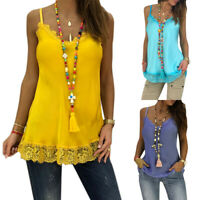 Women Swing Vest Tank Top Sleeveless Lace Strappy Cami Blouse T-Shirt Mini Dress
