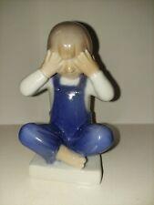 """Porcelain figurine """"See no evil"""". Denmark, Copenhagen, Royal Copenhagen #5460"""