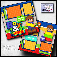 LEGO ~ block BOY SCRAPBOOK PAGES printed layout paper piecing legos ~ BY CHERRY