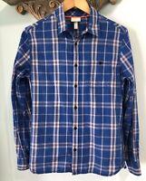 Adidas Mens Neo Shirt Sz 46 Small Blue Plaid Long Sleeve Button Down Cotton Top