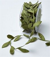 10 Meters Olive Green Leaf Trim Satin Ribbon for Craft Decoration (N.B. this is
