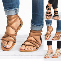 Womens Flats Sandals Flip Flop T-Strap Ankle Strappy Gladiator Beach Shoes Size