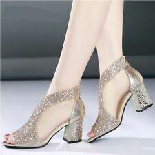Diamond Square Heel Sandals Fashion Leather Ankle Wrap Women Wedding High Heels