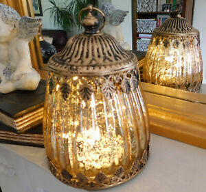 Moroccan Style Antique Gold Colour Patterned Glass LED Lantern Home Decor Lamp
