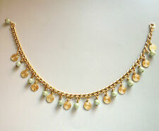Handmade Duck Egg Blue Green Beads & Swirl Twirl Charms Gold Plated Funky Anklet