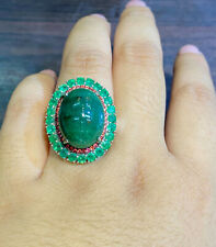 NATURAL EMERALD15X14 EMERALD 2.5M SAPPHIRE DIAMOND CUT STERLING SILVER925 RING