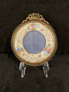 Antique Bronze Or Brass Filigree Frame w/ Hand Painted Porcelain-442