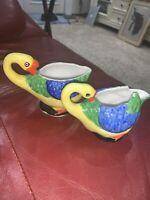 Vtg Set Goose Creamer And Sugar Figural Porcelain Nippon