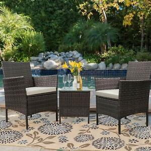3pcs Outdoor Rattan Wicker Furniture Set Patio Chairs Set w/ Coffee Table