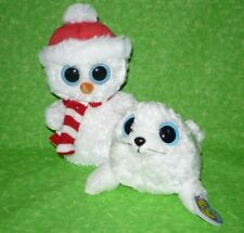 "Set of 2 Beanie Boos 7"" SCOOPS Snowman & 8"" ICEBERG Seal Plush Stuffed Animal"