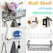 Wall Mounted Shelf Wire Rack Storage Shelf With Hooks Basket Key Hanging Hanger