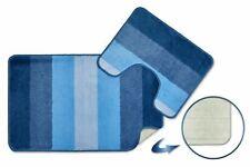 Blue JERSEY Non-Slip 2-Piece Absorbent Bath Mat & Pedestal Mat Set Bathroom