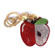 TB Apple Fruit Love Rhinestone Cushion Pendant Charm Women Kid Keychains