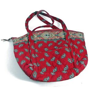 Vintage Vera Bradley Red Paisley Quilted Cotton Purse, Tote Bag Zipper Top, Mint