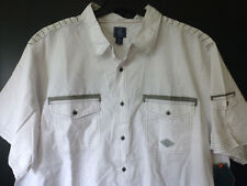 Black Jack Mens 2XL White w Grey Striped Accents Slim Fit Button Front Shirt New