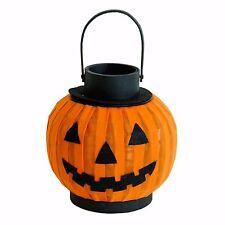 "LED Halloween Pumpkin Jack O Lantern 8"" Lantern Metal Frame w/remote timer NWT"