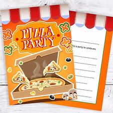 Pizza Party Invitations - Kids Birthday Invites - A6 Postcards (Pack 10)