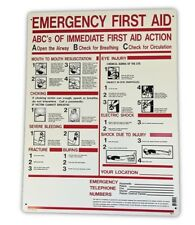 ABC's of Emergency First Aid/CPR Sign 24x18 Heavy Duty Plastic