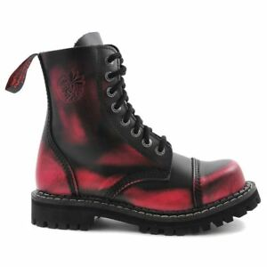 Angry Itch 8 Hole Black Leather Pink Rub Off Combat Boots Army Ranger Steel Toe