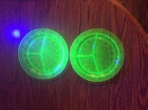 Anchor Hocking CAMEO GREEN BALLERINA PLATES Vaseline / Uranium Glass Lot of 2