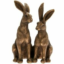 Leonardo Collections Bronzed Two Sitting Hares Sculpture - Cute Rabbits Figurine