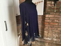 Nicole Collection Long Sleeved Chiffon Godet Trim Tunic Medium 12 - 14
