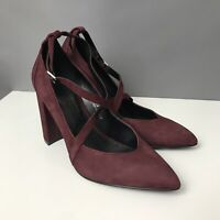 M&S Size 5.5 Berry Purple Maroon Block Heel Shoes Crossover Buckle Straps Pointy