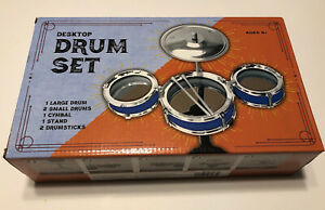 Kids Drum Set Toy Ages 6+ Desktop Drums Cymbal Stand Drumsticks Blue&Silver New