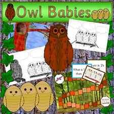 Owl Babies teaching resource pack on CD + Nocturnal animals and Emotions pack