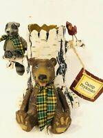 Camp David Frykman Brown Bear Racoon Cardinal On Birch Tree Vase Pencil Holder