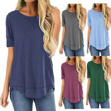 Women Summer Short Sleeve Cotton T Shirt Crew Neck Solid Casual Blouse Tunic Top