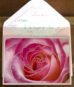 PAPYRUS BLANK CARD. ROSE CARD. GLITTERED
