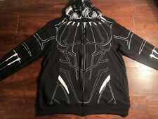 MARVEL'S BLACK PANTHER Men's Black Full Zip up Masked Hoodie Size XL Regular