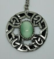 Vintage Silver Tone green stone Celtic Pendant And Chain