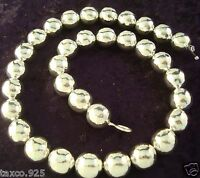 BOLD TAXCO MEXICAN STERLING SILVER HAMMERED BEADED BEAD NECKLACE MEXICO