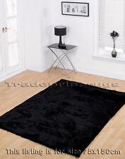 LARGE DEEP THICK BLACK SOFT SHAGGY SPARKLE RUG 75x150cm