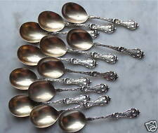 REED & BARTON Sterling Silver - Set of 12 Chocolate Spoons LES CINQ FLEURS