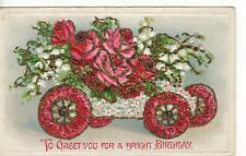 Embossed,Glitter Car W/ Flowers-To Greet You Birthday