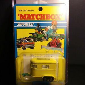 Matchbox Lesney #43 Pony Trailer Rare. Light Green Base Blister Pack VM