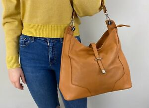 Tan Genuine Leather Slouchy Light Brown Medium Hobo Bag - Made In Italy NEW