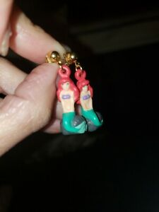 Disney THE LITTLE MERMAID earrings Vintage Collectible 1990