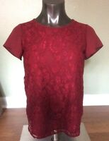 New Ann Taylor Loft Sz XSP Lace Red Top Blouse