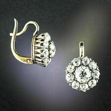 14k Gold Finish 2.42Ct Round Cut Diamond Antique Flower Drop/Dangle Earrings