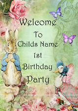 Peter rabbit Party Decoration Welcome Sign Babies first 1st birthday boy girl