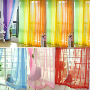 Floral Room Door Sheer Voile Window Valances Panel Drape Curtain Tulle Scarf US