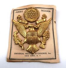 WWII US visor cap gold ISSUE eagle hat pin Army Officer USAAC dress tunic badge