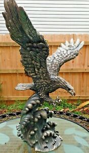 New LG Silver tone Eagle statue sculpture surfing Blue Wave Wings Open 19x18x10